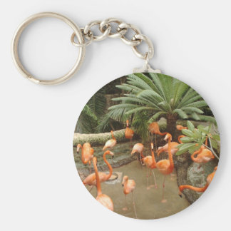 Bright pink flamingos in secluded tropical cove keychain