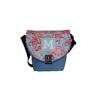 Bright Pink Flamingos On Blue   Add Your Initial Messenger Bag
