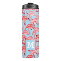 Bright Pink Flamingos On Blue | Add Your Initial