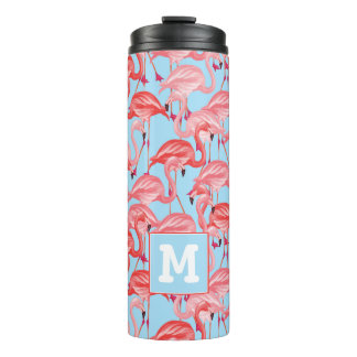 Bright Pink Flamingos On Blue | Add Your Initial Thermal Tumbler