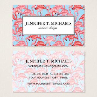 Bright Pink Flamingos On Blue | Monogram Business Card