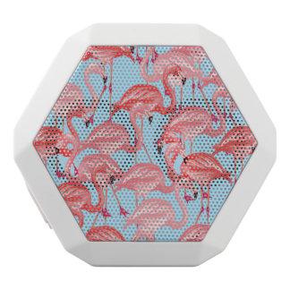Bright Pink Flamingos On Blue White Bluetooth Speaker