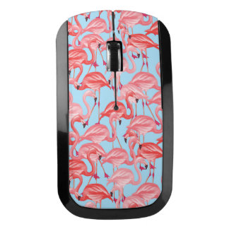 Bright Pink Flamingos On Blue Wireless Mouse