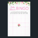 """Bright Pink Floral Baby Shower Bingo Game Stationery<br><div class=""""desc"""">Encourage your baby shower guests to get to know each other and have fun with these bold and bright pink and green floral baby shower bingo cards. Part of the Rosella collection.</div>"""