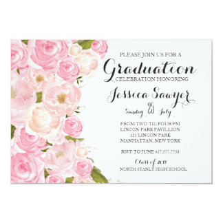 Bright pink Floral Graduation party Invitation