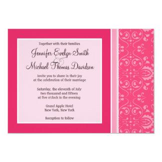 "Bright Pink Floral 5"" X 7"" Invitation Card"