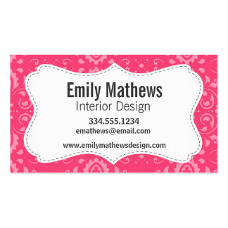 Bright Pink Floral Pattern Business Cards