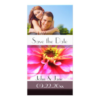 """Bright Pink Floral  /photo  """"Save the Date"""" Personalized Photo Card"""