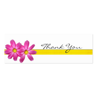 Bright Pink Floral Thank You Note Double-Sided Mini Business Cards (Pack Of 20)
