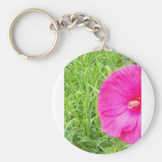 Bright Pink Flower in Tall Grass Keychain