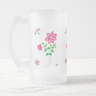 Bright Pink Flower Motif Faux Applique on White Frosted Glass Beer Mug