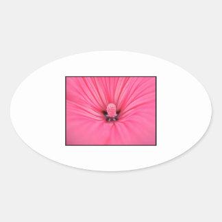 Bright Pink Flower. Oval Sticker