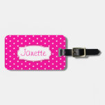 Bright Pink Flower Polka Dots Named Luggage Tag at Zazzle