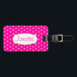 """Bright pink flower polka dots named luggage tag<br><div class=""""desc"""">Bright pink luggage tag great brightly coloured named id tag to help you find your case. Personalize with your first name on the front and full address on the reverse. Pretty design with a simple flower pink and white polka dot pattern uniquely designed  by designer Sarah Trett.</div>"""