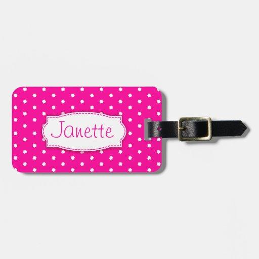 Bright pink flower polka dots named luggage tag bag tags