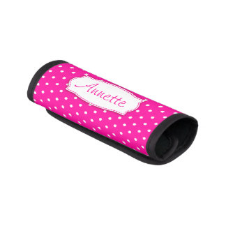 Bright pink flower polka dots named luggage wrap