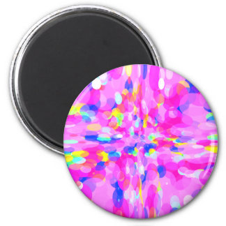 Bright Pink Flowing Circles Ovals Colorful Pattern Magnet