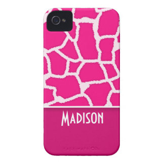 Bright Pink Giraffe Animal Print iPhone 4 Case
