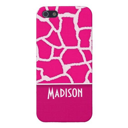 Bright Pink Giraffe Animal Print iPhone 5 Case