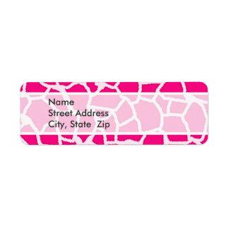 Bright Pink Giraffe Animal Print Label