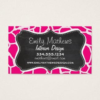 Bright Pink Giraffe Animal Print; Retro Chalkboard Business Card