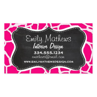 Bright Pink Giraffe Animal Print Retro Chalkboard Business Card