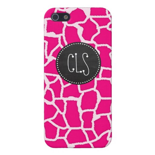 Bright Pink Giraffe Animal Print; Retro Chalkboard iPhone 5 Cover