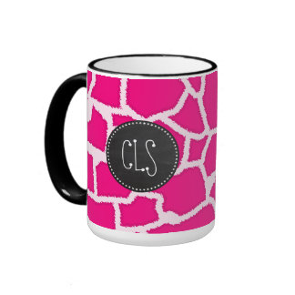 Bright Pink Giraffe Animal Print; Retro Chalkboard Ringer Coffee Mug