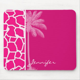 Bright Pink Giraffe Animal Print; Summer Palm Mouse Pad