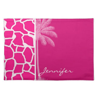 Bright Pink Giraffe Animal Print Summer Palm Place Mats