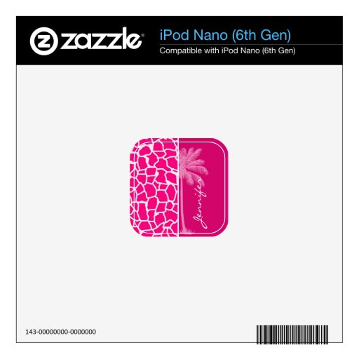 Bright Pink Giraffe Animal Print; Summer Palm Decals For iPod Nano