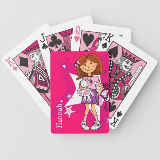 Bright pink girl named playing card set bicycle card deck