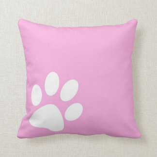 bright pink girly pet paw print pillows
