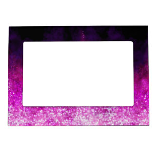 Bright pink glitter black cool galaxy pattern magnetic photo frame