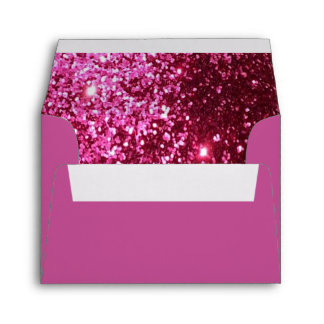 Bright Pink Glitter Lined and Pink Envelope