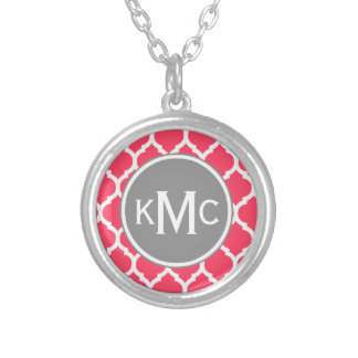 Bright Pink Gray Monogrammed Moroccan Lattice Round Pendant Necklace