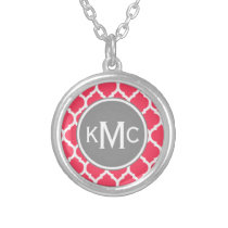 Bright Pink Gray Monogrammed Moroccan Lattice Silver Plated Necklace