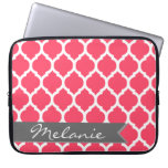 Bright Pink Gray Moroccan Lattice & Banner Laptop Computer Sleeve