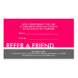 Bright pink gray simple refer a friend cards business card
