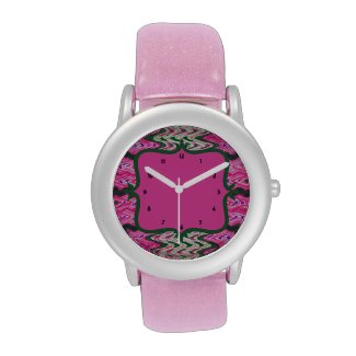 Bright pink green abstract pattern wrist watch