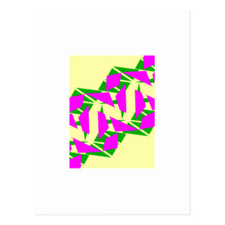 Bright pink green and yellow Postcard
