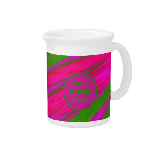 Bright Pink Green Color Swish Abstract Drink Pitcher