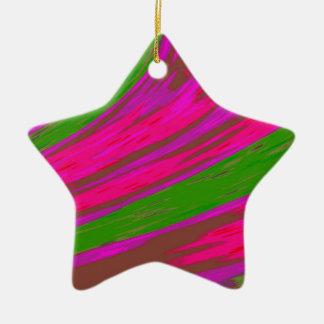 Bright Pink Green Color Swish Ceramic Ornament