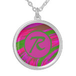 Bright Pink Green  Color Swish Monogram Silver Plated Necklace