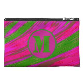 Bright Pink Green Color Swish Monogram Travel Accessory Bag