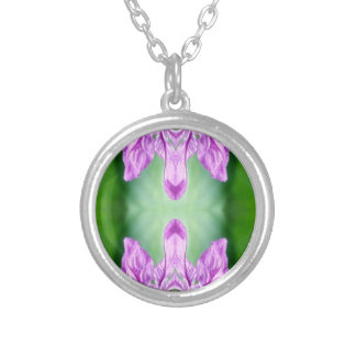 Bright Pink Green 'Coming Together' Abstract Silver Plated Necklace