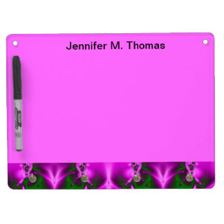 Bright Pink Green Fractal Abstract Design Dry Erase Board With Keychain Holder