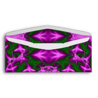 Bright Pink Green Fractal Abstract Design Envelopes