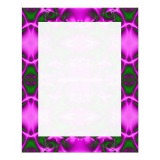 Bright Pink Green Fractal Abstract Design Flyer