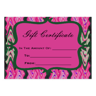 Bright Pink Green Gift Certificate Business Card Template